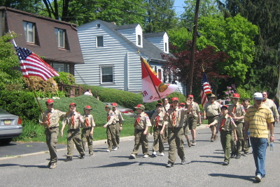 Troop 2295 marches in the Memorial Day 2008