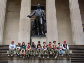 Troop 2295 at the foot of the George Washington statue at the Federal Hall National Memorial on Wall Street.