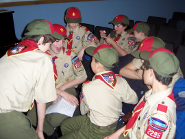Troop 2295 Boy Scouts prepare to Bridge new scouts into their ranks!