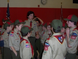 Senior Patrol Leader Ben with new scouts.