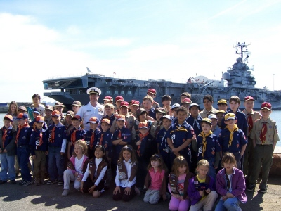 River Edge Scouts with USS Intrepid in background